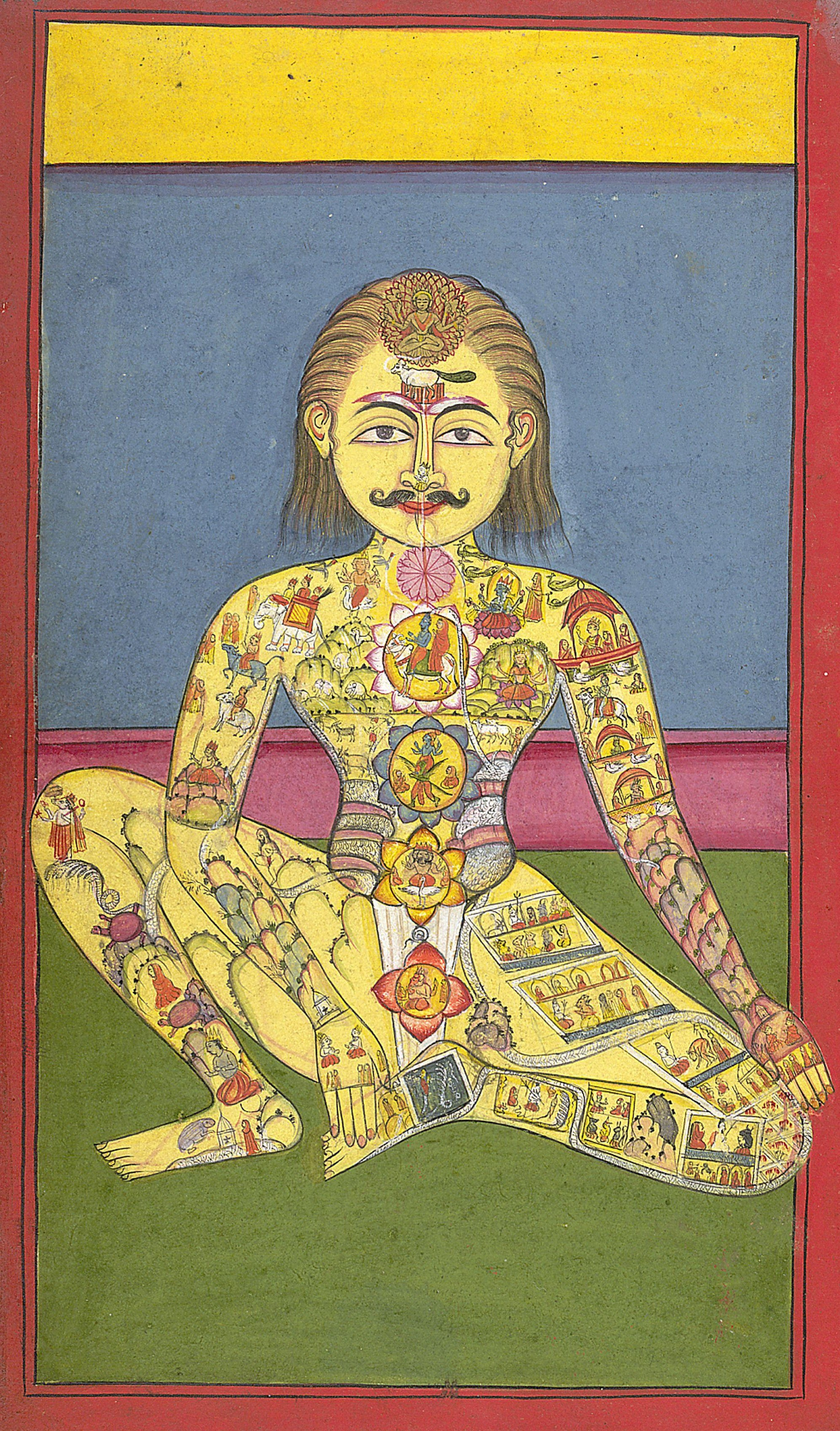 Sapta Chakra, from a Yoga manuscipt in Braj Bhasa lanaguage with 118 pages. 1899.