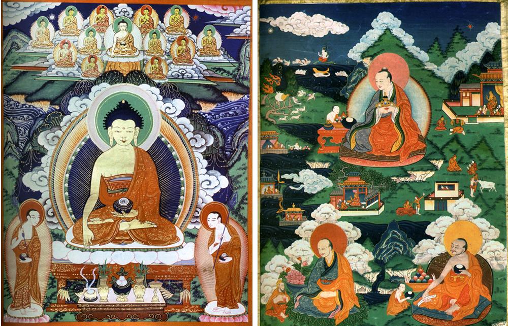 Патры часто встречаются в тибетской религиозной живописи и на скульптурных изображениях Будды Шакьямуни (на изображении слева. Справа изображены Архаты Канака-ватса, Канака-бхара-дваджа, Ваджри-путра, Бхадра изображены с их отличительными атрибутами и жертвенными подношениями).